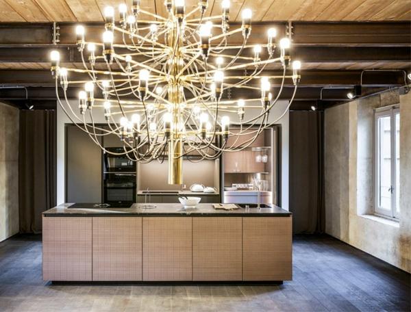 tendances cuisine 2020 grande suspension led îlot central avec banneaux de bois