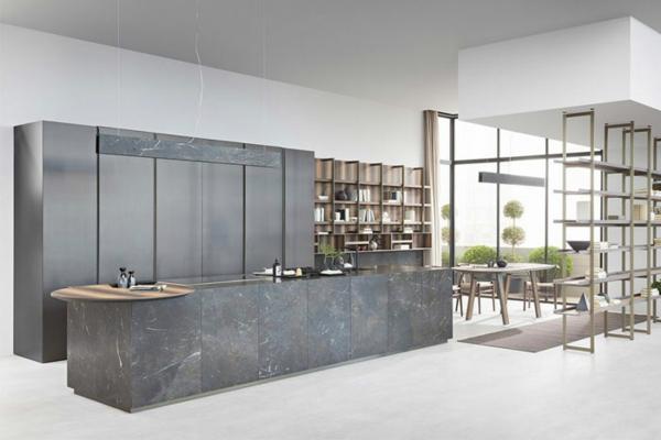 tendances cuisine 2020 mobilier en inox îlot en pierre à filaments