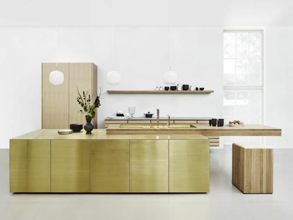 tendances cuisine 2020 mobilier en teck îlot central finition vert métallique