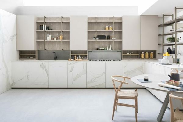 tendances cuisine 2020 sol blanc mobilier en marbre et bois laqué