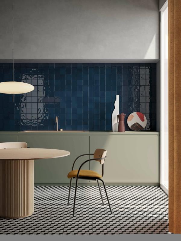 tendances cuisine 2020 sol graphique carrelage bleu foncé table ronde design
