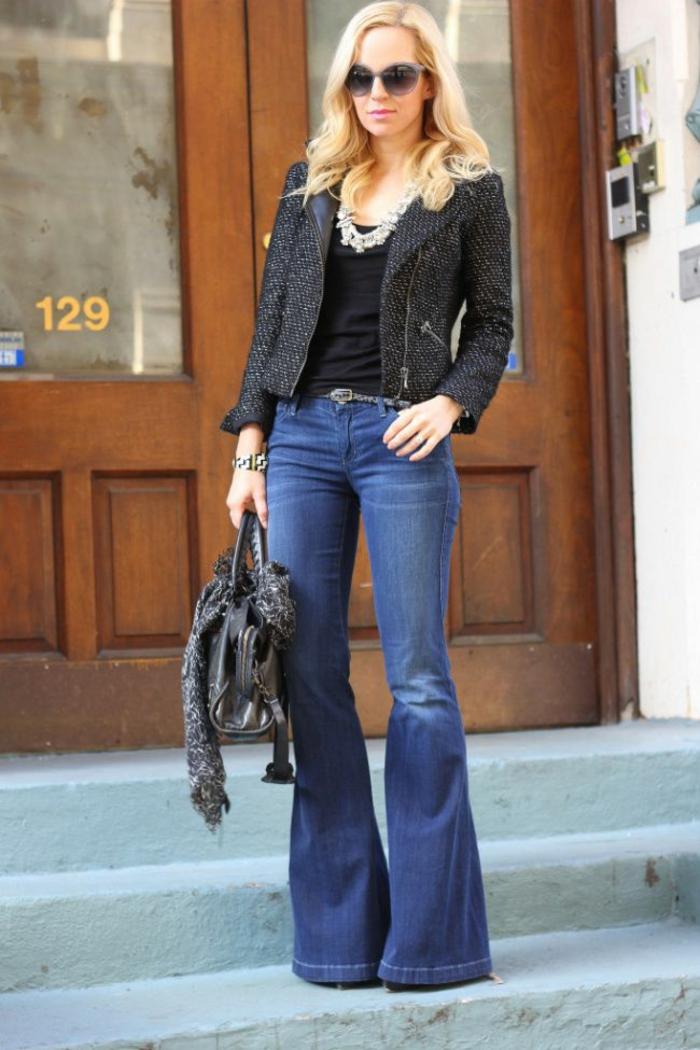 tenue élégante femme idée avec jean flare femme