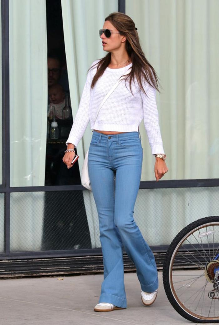 tenue moderne jean flare femme