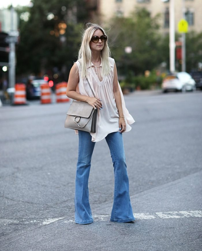 tenue pour l'automne jean flare femme
