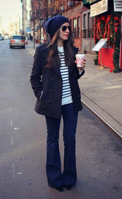 tenue pour l'hiver idée jean flare femme
