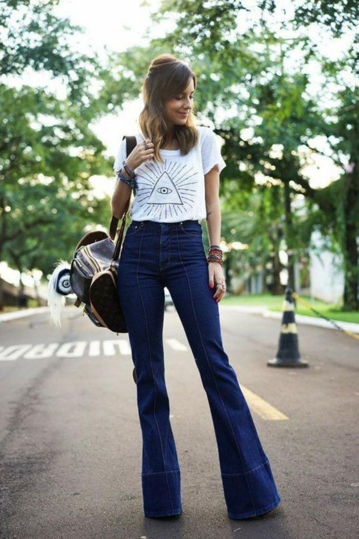 tenue tendance jean flare femme