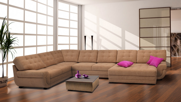 tissus d'ameublement un canapé long