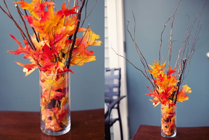 vase originale activités manuelles automne avec des feuilles séchées