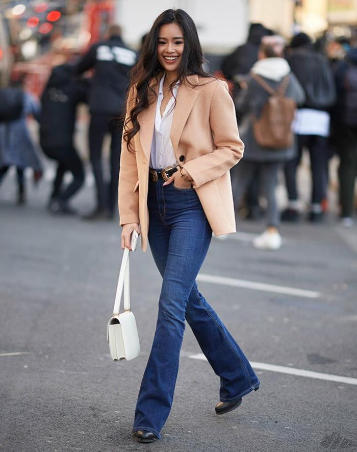 veste large et jean flare femme idée comment combiner