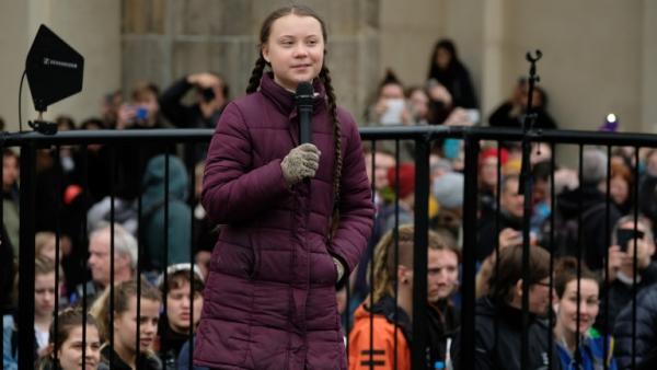 Gréta Thunberg dans la rue