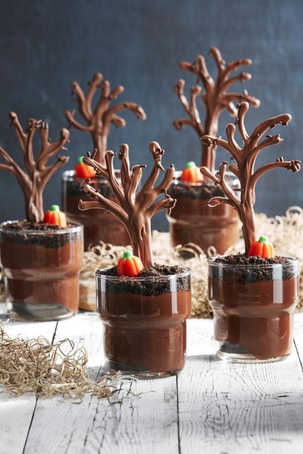 Idée recette Halloween des crèmes au cacao