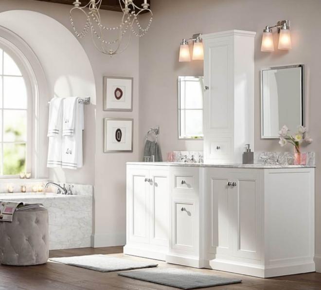 aménagement de salle de bain styles mélangés