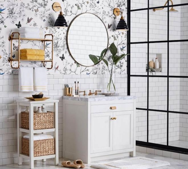 aménagement de salle de bain du papier peint