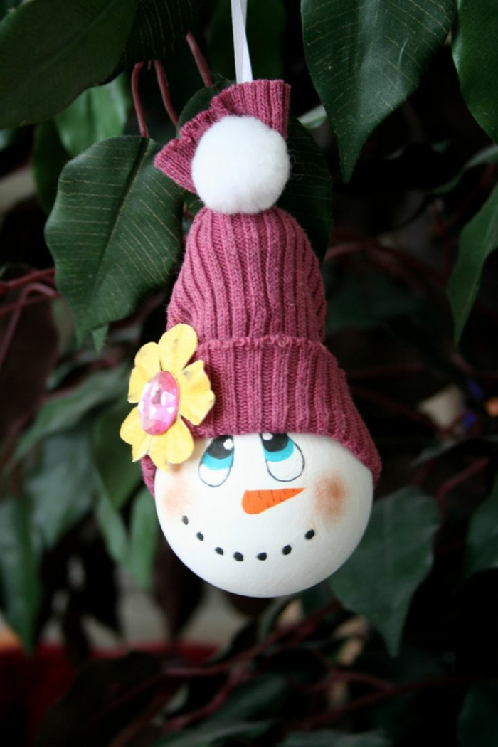 ampoule électrique bonhomme de neige en chaussette déco noël