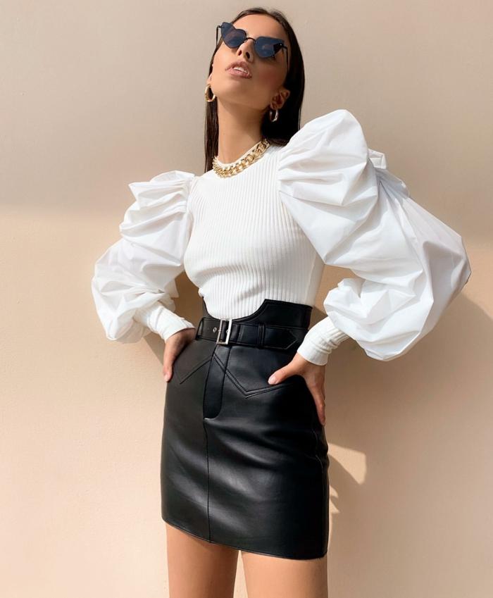 blouse à manches bouffantes et jupe en cuir mode femme 2019-2020