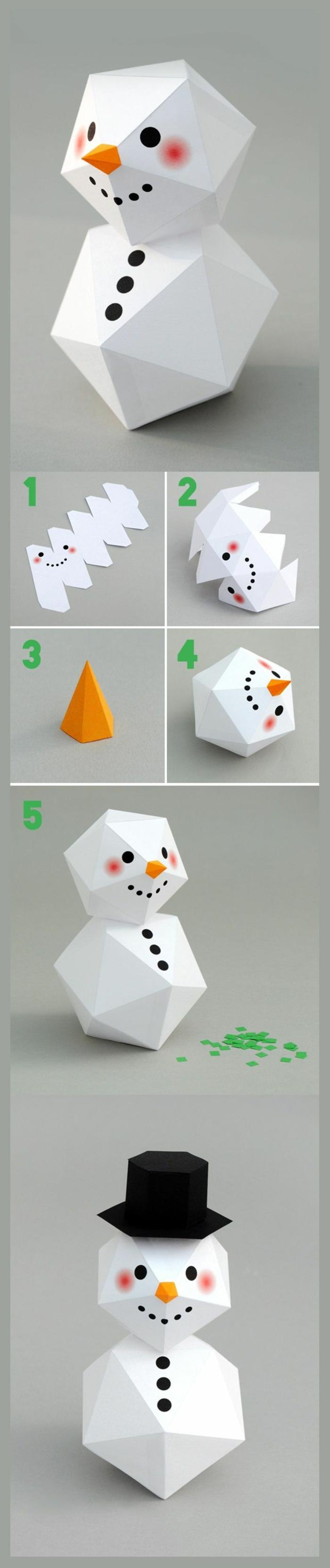 bricolage en papier bonhomme de neige en chaussette