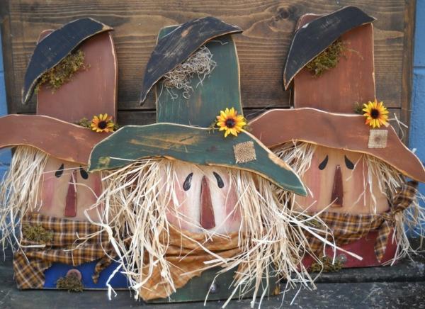 bricolage halloween épouvantail en bois