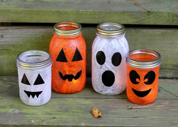 bricolage halloween avec des bocaux en verre
