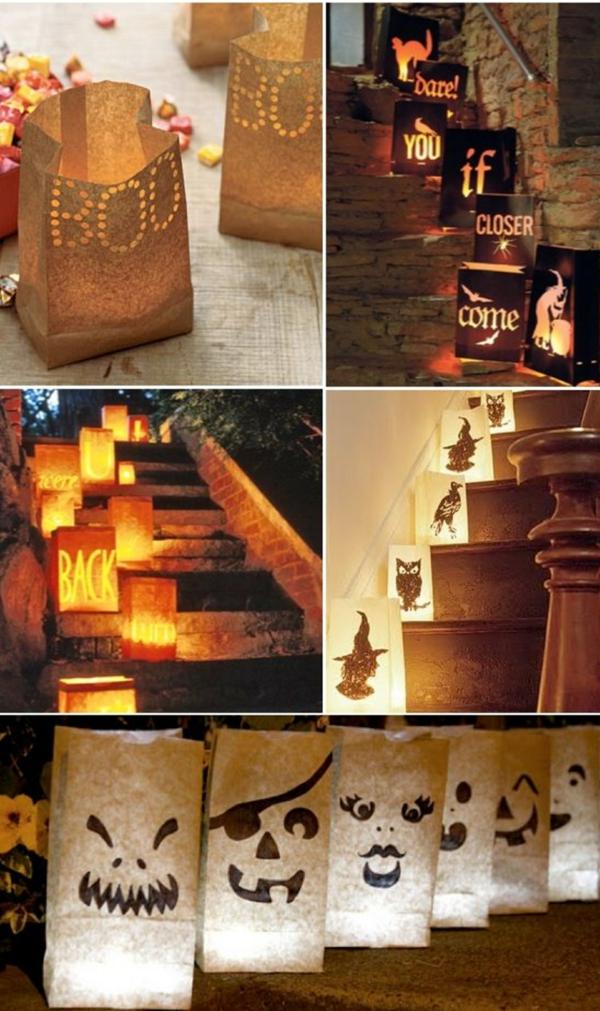 bricolage halloween avec des sacs en papier