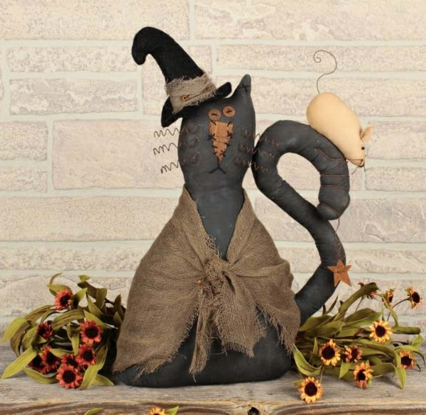 bricolage halloween chat noir en tissu et ouate