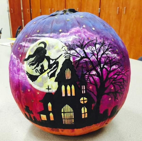 bricolage halloween citrouille peinte