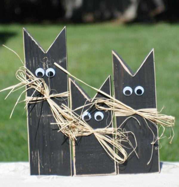 bricolage halloween déco de jardin chats noirs en bois
