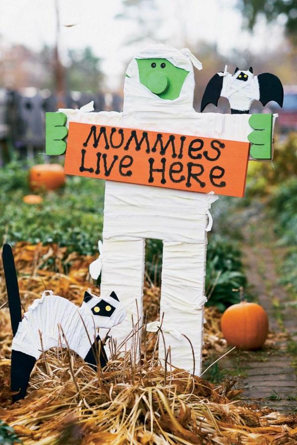 bricolage halloween déco de jardin momie