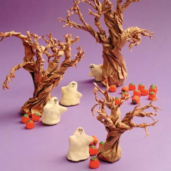 bricolage halloween fantômes en pâte à sel