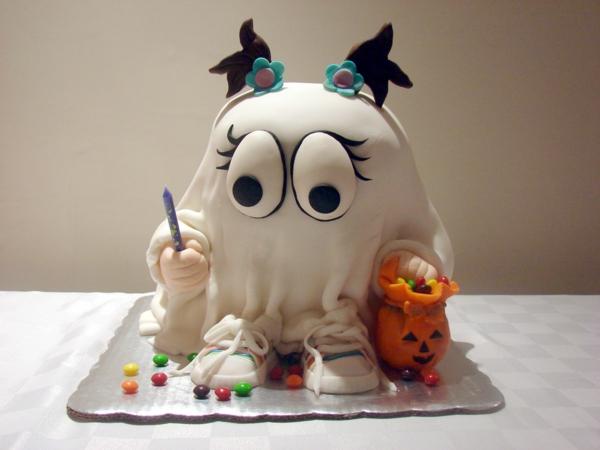 bricolage halloween gâteau pâte à sucre fantôme