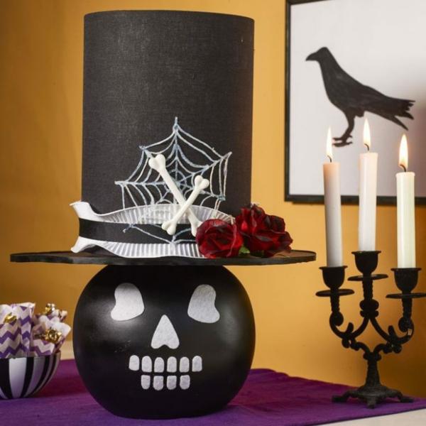 bricolage halloween lampe de chevet tête de squelette