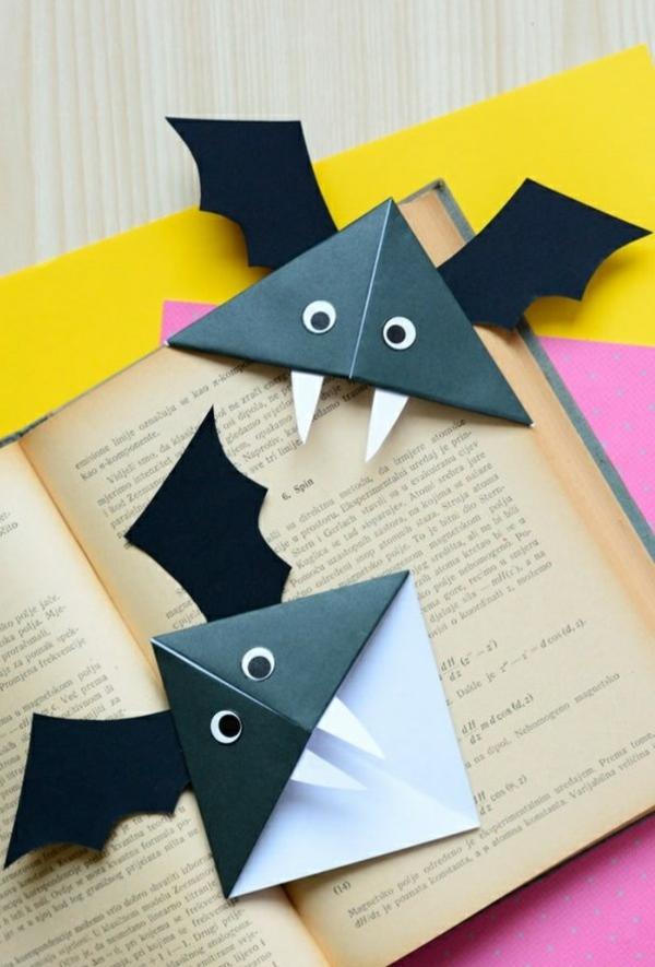 bricolage halloween marque-page chauve-souris