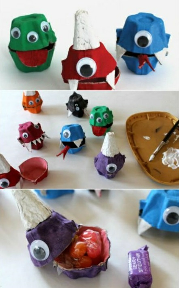 bricolage halloween maternelle monstres en boîte d'oeufs