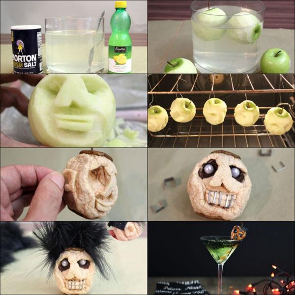 bricolage halloween tête en pomme séchée