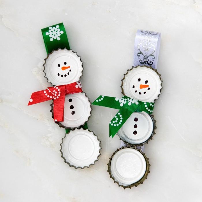 couvercles métalliques diy noël bonhomme de neige en chaussette