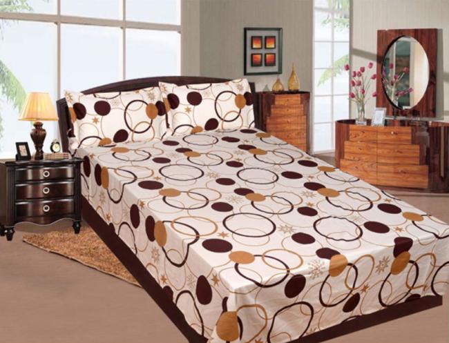 couvre-lit satin beige et brun