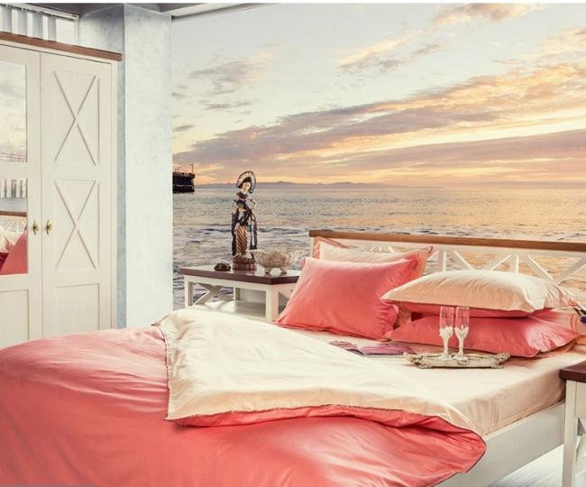 couvre-lit satin couleur moderne