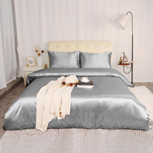 couvre-lit satin du gris brillant