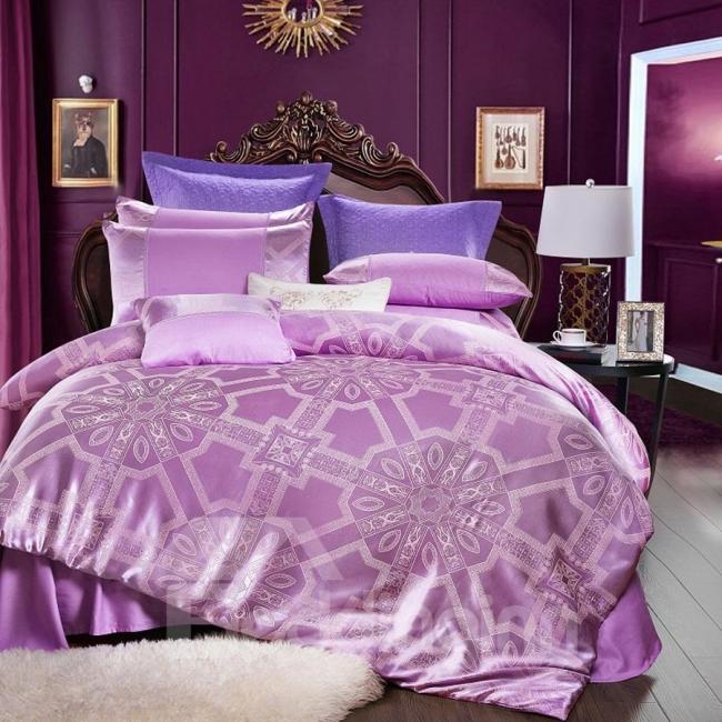 couvre-lit satin murs lilas