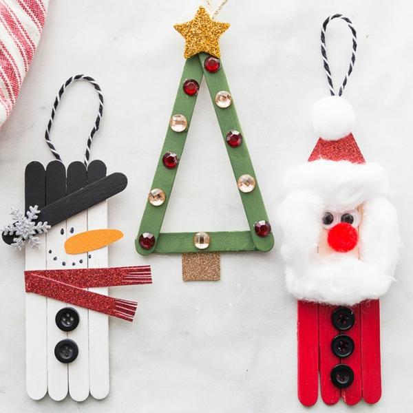 idée de décoration Noël diy personnages thématiques faits de bâtonnets de glace