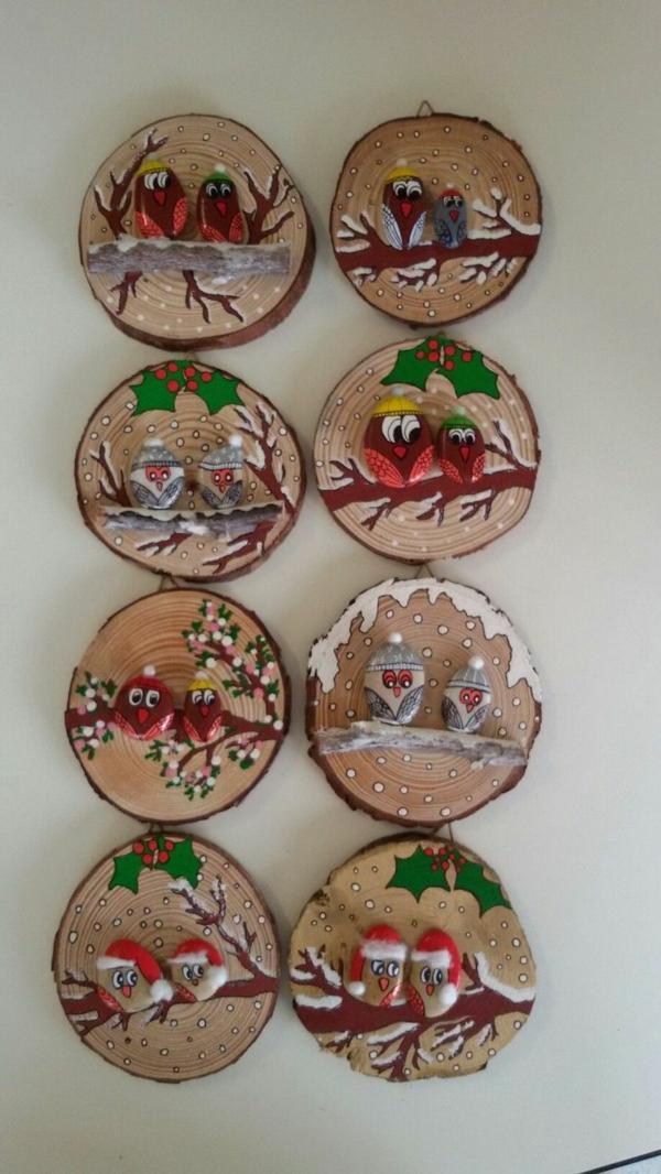 idée déco Noël à fabriquer soi-même ornements fabriqués de bois et galets