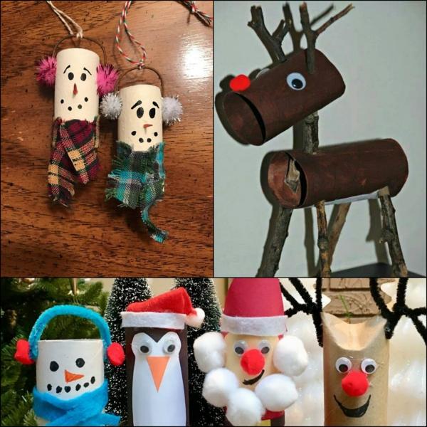 idée de décoration Noël diy personnages thématiques faits de rouleaux de papier toilette