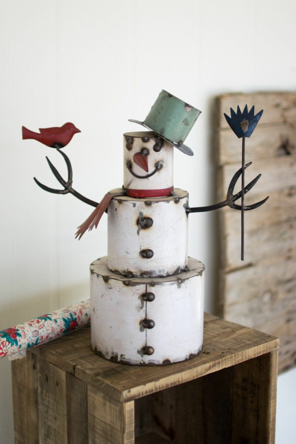 idée déco Noël à fabriquer soi-même bonhomme de neige en métal de récup