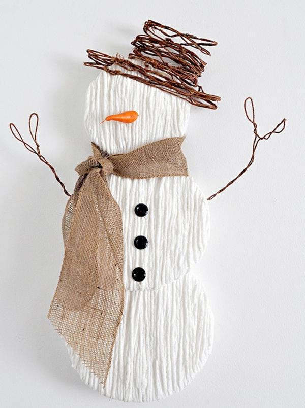 idée de décoration de Noël à fabriquer soi-même bonhomme de neige fait de papier d'artisanat fil métallique et toile de jute