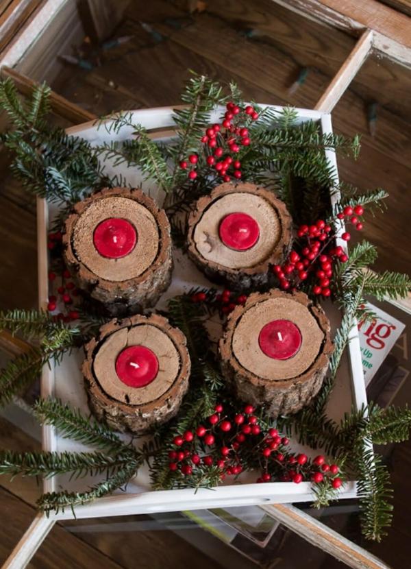 idée de décoration de Noël à fabriquer soi-même bougeoirs de bois