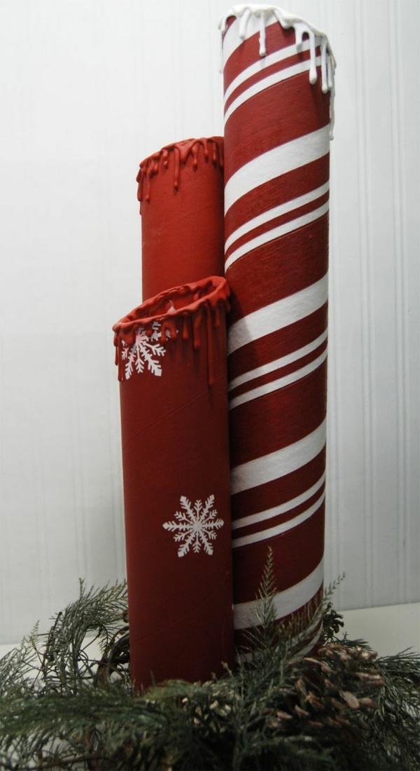 idée de décoration de Noël à fabriquer soi-même bougies faites de rouleaux carton d'essuie-tout