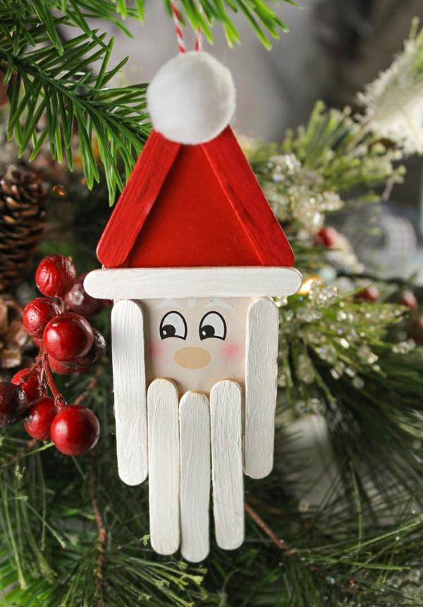 idée déco Noël à fabriquer soi-même ornement de sapin père noël bâtonnets de glace