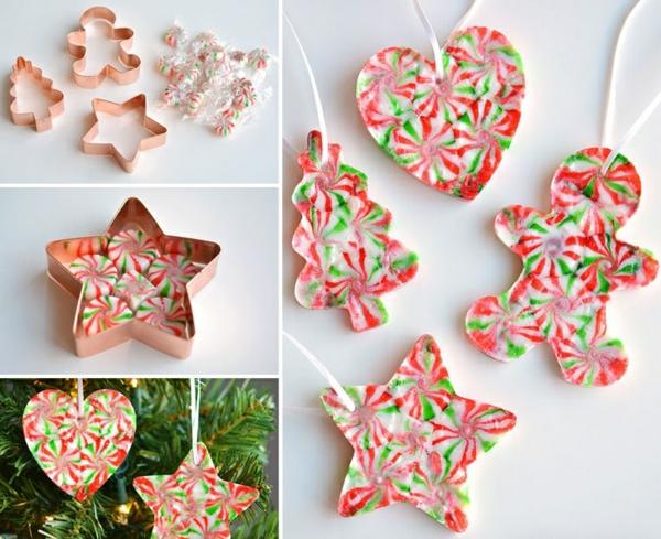 idée décoration Noël à fabriquer soi-même ornements de sapin faits de bonbons fondus