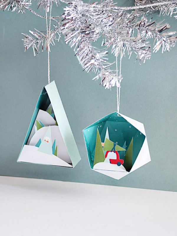 idée décoration Noël à fabriquer soi-même ornements de sapin en papier coloré