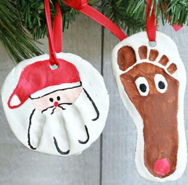 idée décoration Noël à fabriquer soi-même ornements de sapin faits de pâte à sel