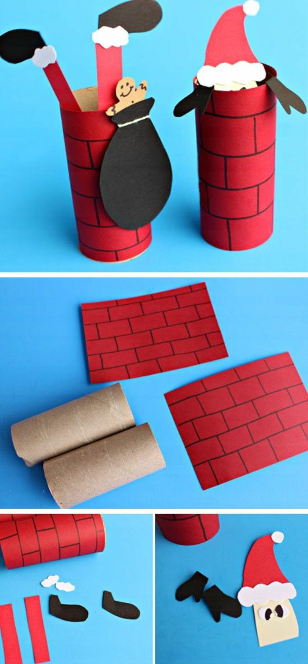 idée décoration Noël à fabriquer soi-même père noël rouleaux de papier toilette